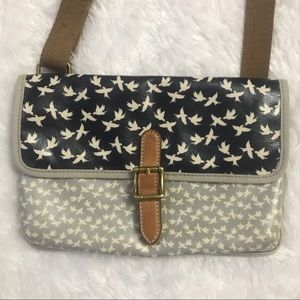 Fossil Bird Print Canvas Coated Crossbody Purse